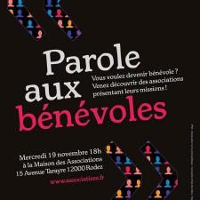 affiche de l'animation PAROLE AUX BENEVOLES du 19 11 2014